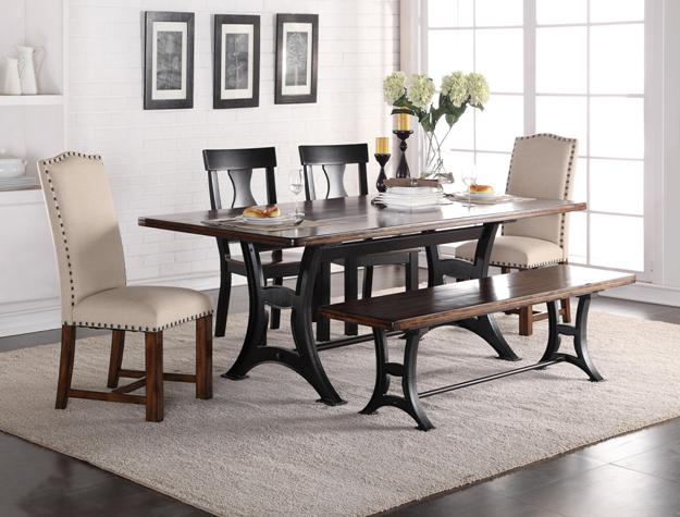 Victorian Style Table And Bench Legs Are Sturdy And Decorative. Parson  Chairs Feature Arched Backs And Nailhead Trim