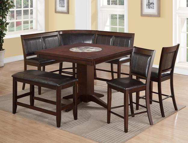 faux plank table top with faux marble builtin lazy susan high back benches and corner connection create comfortable and casual seating faux leather